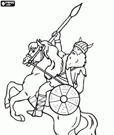 Viking riding a horse with a spear in his hand coloring page