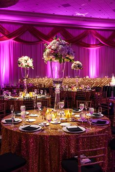 Chic glitter reception inspired by Great Gatsby at a Walt Disney World Wishes Wedding