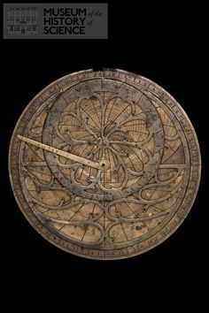 Astrolabe, Italian, late 15th century. Mater, rete for about 36 stars, rule. On the reverse is a disc with 8 pointers for the aspects surmounted by 7 discs with pointers for the 5 planets, sun and moon, and a double pointer for the lunar nodes. Museum of the History of Science, Oxford.