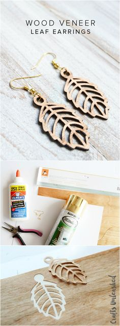 DIY Leaf Earrings Tutorial: Faux Laser Cut Wood - Consumer Crafts                                                                                                                                                                                 More