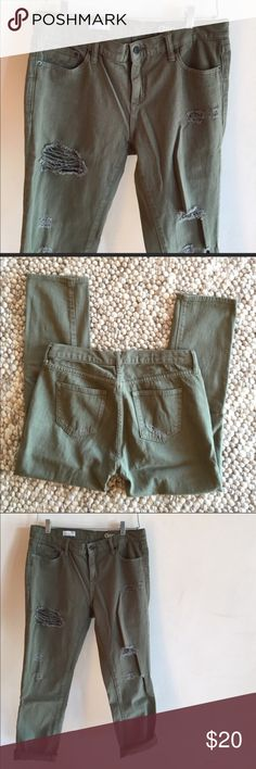 GAP 1969 GIRLFRIEND JEANS Perfectly distressed! size 30R. Olive green. Bought from another posher but they didn't fit me so reselling. She said she wore them only once and they are in excellent condition. Rips and tears intentional. GAP Jeans Boyfriend
