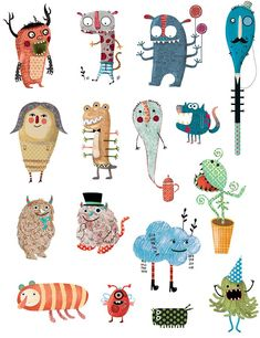 Illustration Kids Evelyn Daviddi has created some very funny monsters to play in the . Monster Illustration, Abstract Illustration, Children's Book Illustration, Character Illustration, Monster Design, Monster Art, Kids Brand, Monster Characters, Cute Monsters