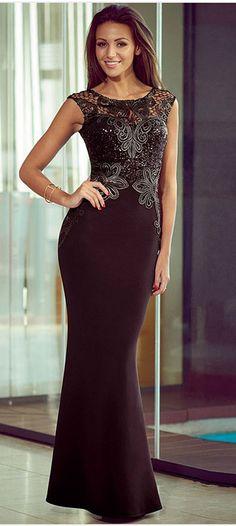 Elegant Scoop Neck Lace Spliced Dress