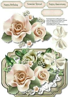 Beautiful cream roses in a Bracket Frame  on Craftsuprint designed by Ceredwyn Macrae - A lovely card to make and give to anyone with Cream roses in a bracket frame ,Has three greeting tags and a blank one , - Now available for download!