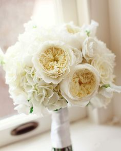 David Austin roses, an excellent substitute for peonies. **Lisa: this image is david austin rose plus hydrangea. White Wedding Bouquets, Wedding Flower Arrangements, Floral Wedding, Bridal Bouquets, Purple Bouquets, Flower Bouquets, Bridal Flowers, Purple Wedding, Floral Arrangements
