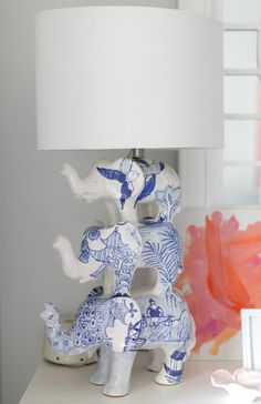 A tiered elephant lamp @Lainey Molin Molin Thorne