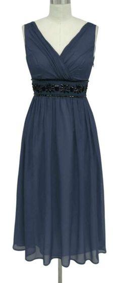 fd6d2023074b Blue Chiffon Goddess Beaded Waist Formal Bridesmaid/Mob Dress Size 22 (Plus  2x) 61% off retail