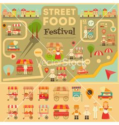 Street Food on City Map on VectorStock