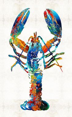 Colorful Lobster Art By Sharon Cummings Artist ; Painting - Acrylic On Canvas - demo for stencil and paint Lobster Art, Lobster Tattoo, Art Watercolor, Rainbow Fish, Rainbow Colors, Large Artwork, Original Artwork, Original Paintings, Ouvrages D'art