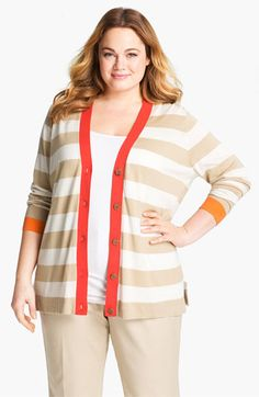Vince Camuto Stripe Cardigan - I own it!  Shown at Nordies with VC bib shirt in tangerine, had to buy both!