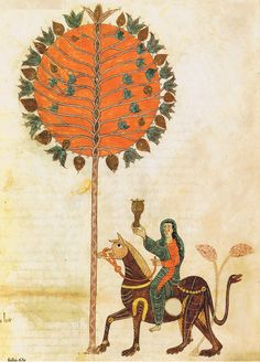 by #En(de), #Illuminator active in northen Spain AD 975 - f 063r Beatus de Liébana. Prologue: on the Synagogue: the woman seated upon the beast -- fine X sec