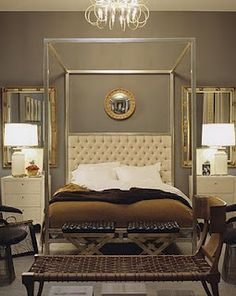 mirrors behind nightstands and lamps