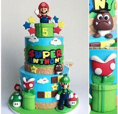 Mario Birthday Cake, Minecraft Birthday Cake, 7th Birthday Party Ideas, Super Mario Birthday, Super Mario Party, Boy Birthday Parties, Mario Kart Cake, Mario Bros Cake, Bolo Super Mario
