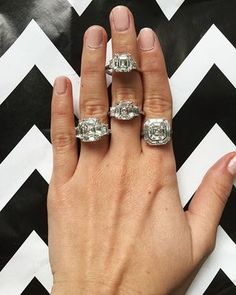 Love me some Asscher cuts! Perfect shape if you like a classic look with an antique vibe  #diamonds #engagementring #jewelry #asschercut #love diamond engagement ring