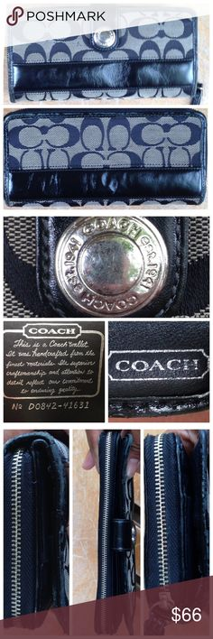 COACH LEGACY STRIPE ACCORDION ZIP AROUND WALLET COACH LEGACY SIGNATURE Black gray STRIPE ACCORDION ZIP AROUND WALLET Leather  PreLoved   Leather pipping has scuffing   Sateen liner a little dirty   Zipper smooth   A lot of pockets    Jacquard fabric could use a cleaning Coach Bags Wallets