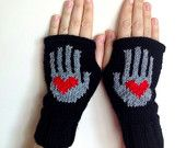 Valentine's Gift Red Heart on My Hand Pattern Fingerless Gloves - Soft Knit Mittens - Women Teens Accessories - Fall Winter Fashion
