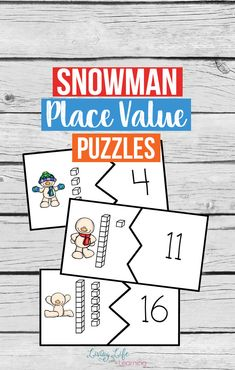 Who doesn't love snowmen? Get your child counting with these adorable snowman place value puzzles, an easy way to count on from 10 in a fun winter printable for kids.  #snowman #winter #kidsactivities #preschool