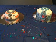 My DIY Star Wars birthday cakes. BB8 and R2D2 cakes. I baked in a pyrex bowl. After cooling I turned the bowl upside-down and began frosting it. I used fondant to decorate.
