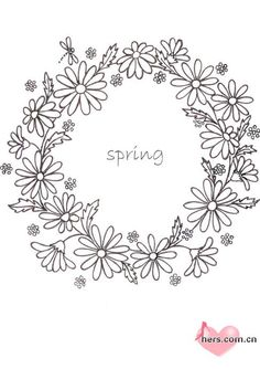 Wreath pattern with daisies to hand embroider Floral Embroidery Patterns, Hand Embroidery Designs, Embroidery Art, Cross Stitch Embroidery, Wreath Drawing, Floral Drawing, Flower Cards, Fabric Painting, Needlework