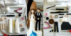 how to make a bride and groom wedding cake topper tutorial by Verusca Walker Diy Wedding Cake Topper, Bride And Groom Cake Toppers, Diy Cake Topper, Fondant Wedding Cakes, Cake Topper Tutorial, Personalized Wedding Cake Toppers, Wedding Cake Designs, Cartoon Wedding Cakes, Biscuit
