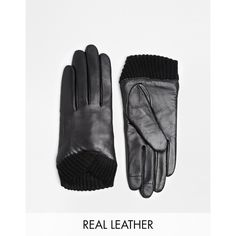 ASOS Leather Gloves With Knitted Cuff And Touch Screen Detail ($30) ❤ liked on Polyvore featuring accessories, gloves, black, leather gloves, black leather gloves, asos, black gloves and asos gloves