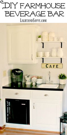 DIY Farmhouse Beverage Bar - transform your unused and outdated wet bar or cabinets into a beverage bar that the whole family will use. Complete with a mini-fridge for cold drinks and snacks!