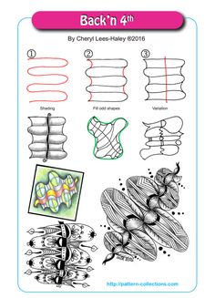 Back n by Cheryl Lees-Haley … Mehr Tangle Doodle, Tangle Art, Zen Doodle, Doodle Art, Zentangle Drawings, Doodles Zentangles, Doodle Drawings, Doodle Patterns, Zentangle Patterns