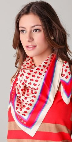 Mix the heart scarf with a patterned shirt of the same color scheme ~