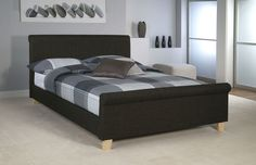 Eclipse Bed in charcoal fabric