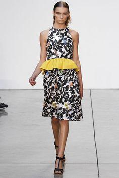 Birds print and peplum dress at Thakoon #NYFW 2013 #summer #fashion