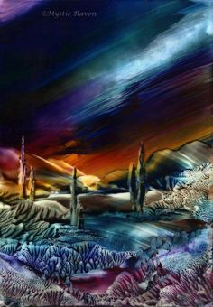 ~SomeWhere~  They Wander.... ©Mystic Raven  Encaustic Painting