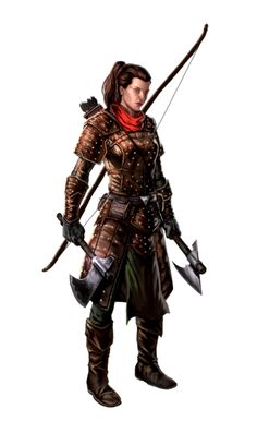 Female Human Dual Axe and Longbow Ranger - Pathfinder PFRPG DND D&D d20 fantasy