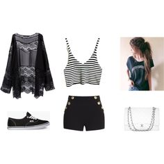 rayas by karenvanessa1d on Polyvore featuring moda, Boutique Moschino, Vans and Chanel