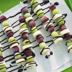 Frozen Grape and Banana Skewers drizzled with Chocolate Drizzle  California Table Grapes Commission