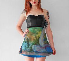 """Flare+Skirt+""""Sailboats""""+by+Linda+Watson"""