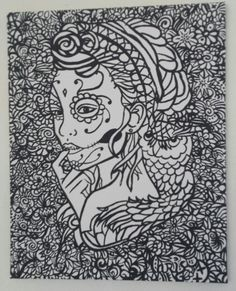 tattoostyle skulllady canvas 40x50cm
