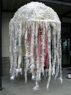 'Washed Ashore' - art from trash washed ashore - bottle jellyfish