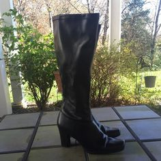 """Merona Boots Very Nice Merona Black Boots! Barely Worn! Only Visible sign of wear is creasing at the toe! Great Condition! Approx 17"""" H,  3-1/2"""" Heel, 14"""" Circumference. Man Made Materials Merona Shoes Heeled Boots"""