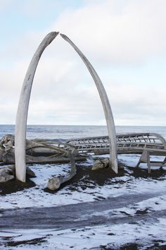 Whalebone archway overlooking the Arctic Ocean in Barrow, Alaska.