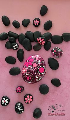 Hand Painted Stone - Mandala Inspired Design - Pink Floral Accents - Natural Home Decor - pink persuasion collection #20 - $28.00 - FREE Shipping! - ethereal & earth - otherworldly & of this world creations.