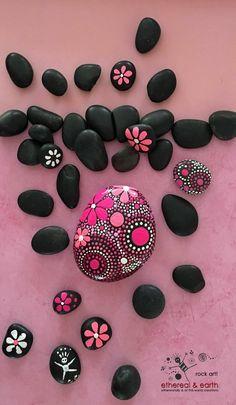 Hand Painted Stone, Mandala Inspired Design, Rock Art, Painted Rock, Natural…
