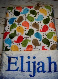 Personalized minky blanket. Baby, girl,  boy.  Minky Cuddle Urban Zoologie Chick Cuddle . So soft! by PreciousLoveDesigns on Etsy