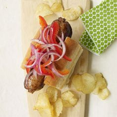 Grilled Sausages with Marinated Peppers and Onions