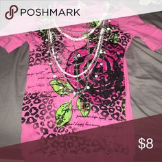 Pink black floral and cheetah shirt Comes with necklace sparkly and unique Tops Tees - Short Sleeve