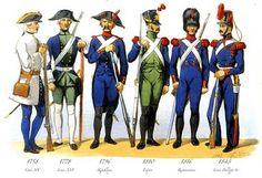 Troupes de Marine  de gauche à droite : compagnies franches de la marine (1758), canonnier garde-côtes (1778), artillerie de marine (1796), garde-côtes (1810), artilleur de marine (1816), artilleur de marine (1843)