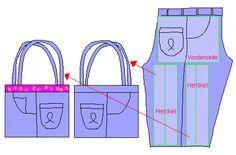 Anleitung 2 Taschen aus einer Jeans