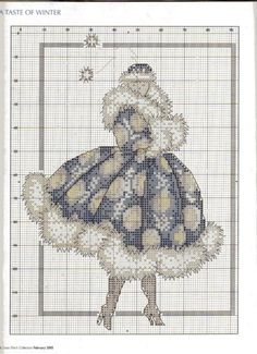0 point de croix femme en manteau bouffant d'hiver - cross stitch woman, lady in a fluffy winter coat