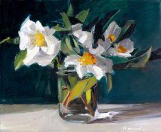 """White Camellia Bouquet"" original fine art by Gretchen Hancock"
