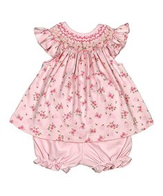 04784c84f9a1 Hug Me First Pink Hand-Smocked Bishop Top & Bloomers - Newborn, Infant &  Toddler