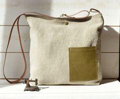 3de48e8022 Eco friendly linen Cross body bag Messenger bag   Laptop bag  tote bag boho  bag with leather strap Paris fashion